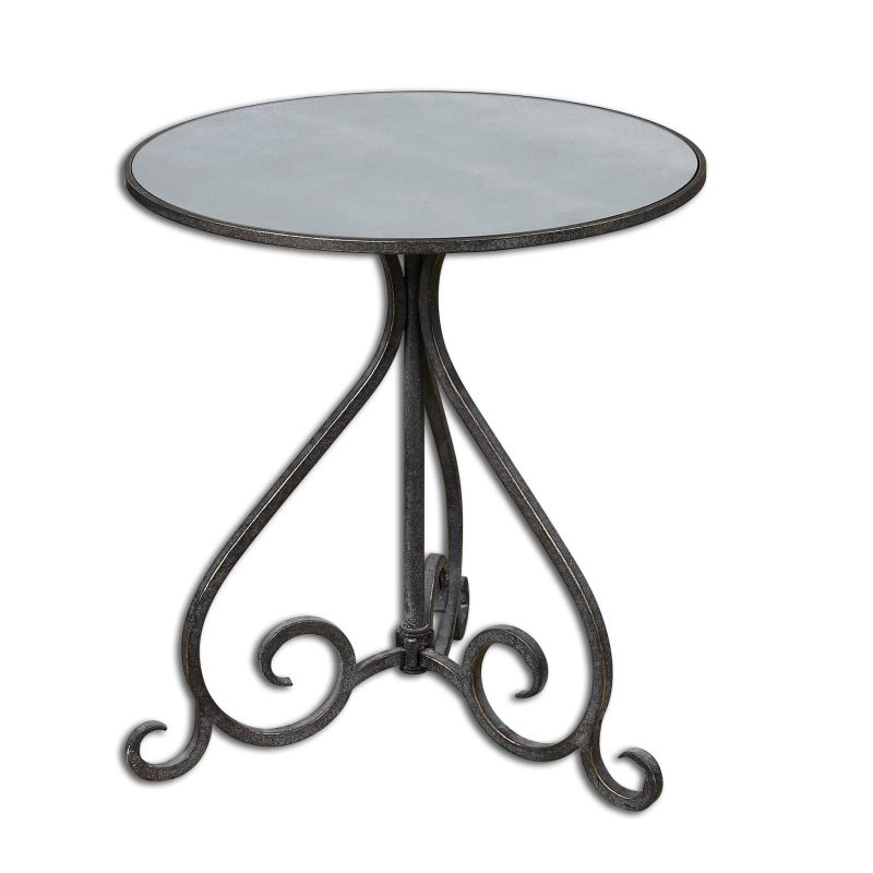 Uttermost 24380 Poloa Mirrored Forged Metal Accent Table Aged Bronze