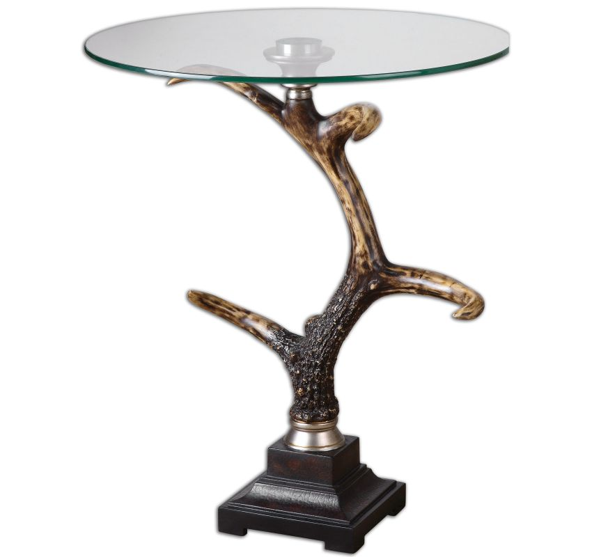 Uttermost 24430 Stag Antler Accent Table Burnished Bone Ivory