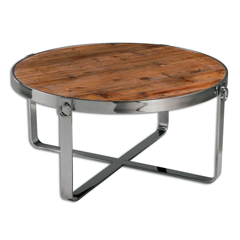 "Uttermost 24485 Berdine 18"" x 38"" Reclaimed Wood Coffee Table Polished"
