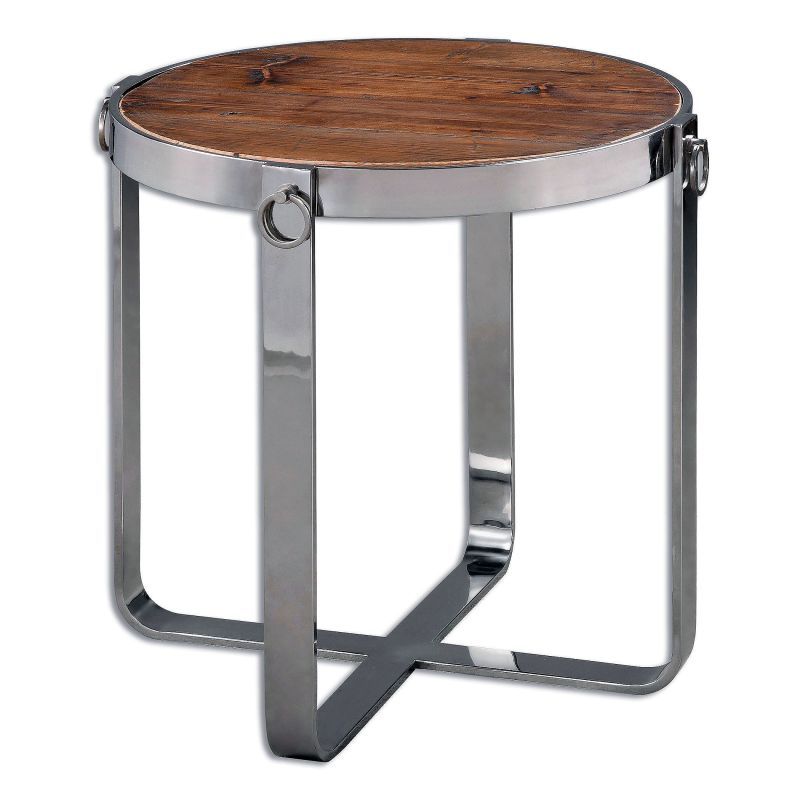 """Uttermost 24486 Berdine 24"""" x 24"""" Reclaimed Wood End Table Polished"""