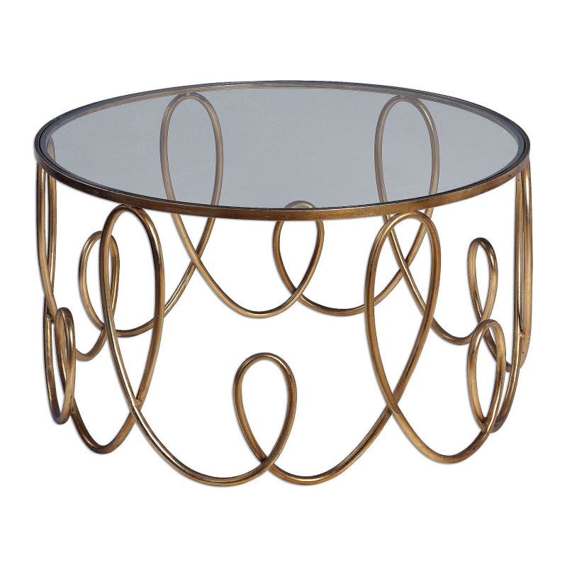 "Uttermost 24620 Brielle 19"" x 35"" Accent Table Antique Gold Furniture"