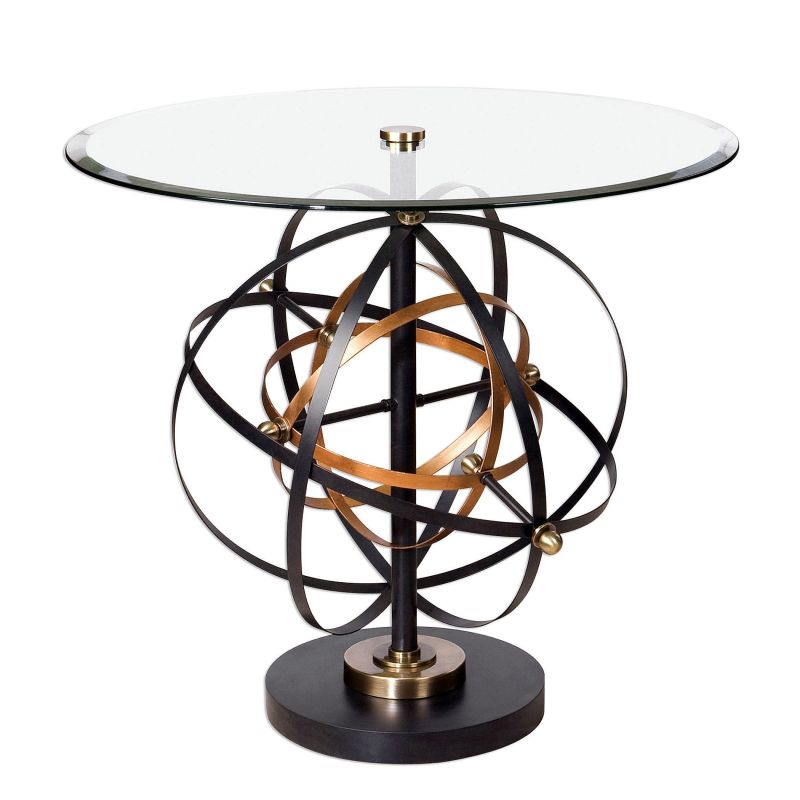 "Uttermost 24627 Colman 28"" x 32"" Accent Table Black / Gold Furniture"