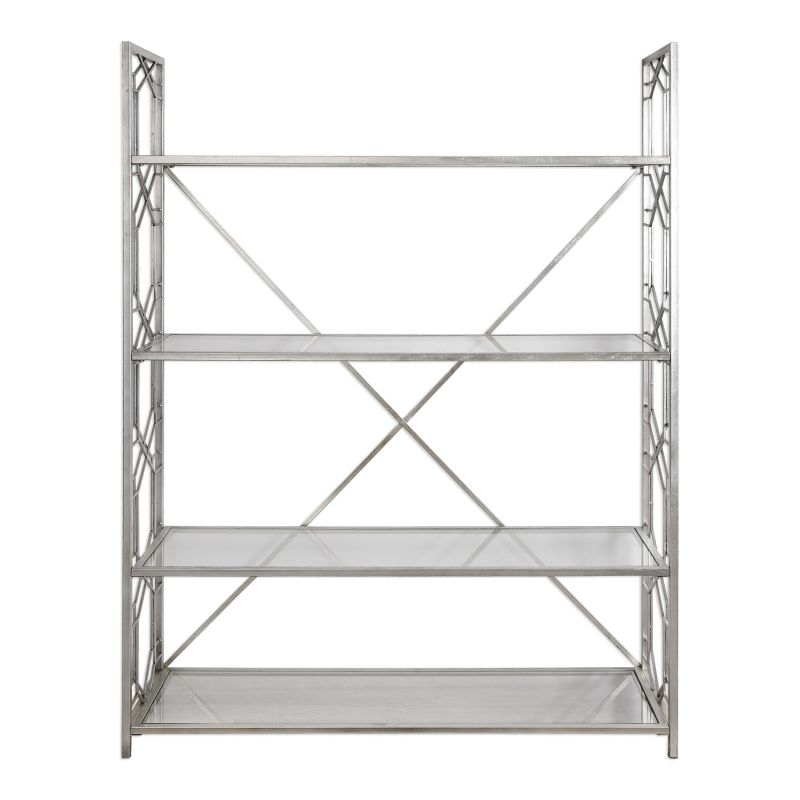 Uttermost 24700 Kennis 52 Inch Wide Metal Shelving Unit with Glass
