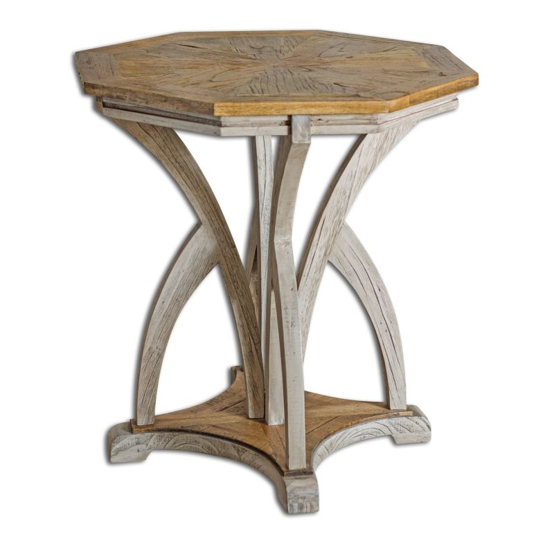 Uttermost 25623 Ranen Aged Midi Wood Accent Table with Sloped Feet