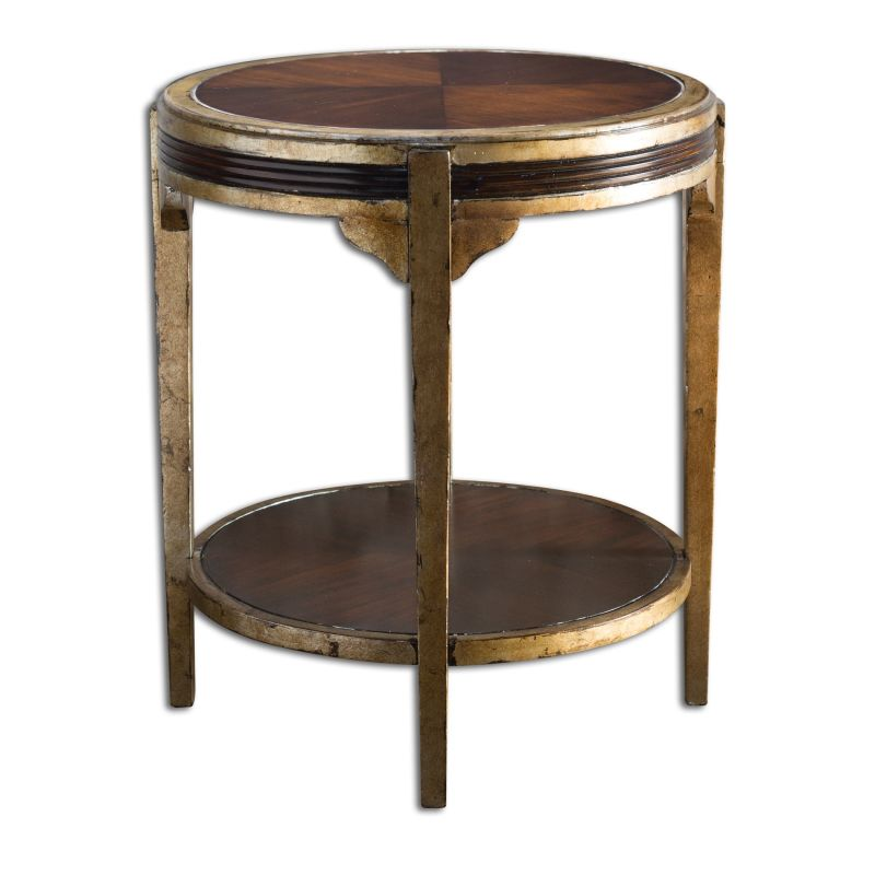 Uttermost 25626 Tasi Contrasting Wood Accent Table Dark Mahogany with