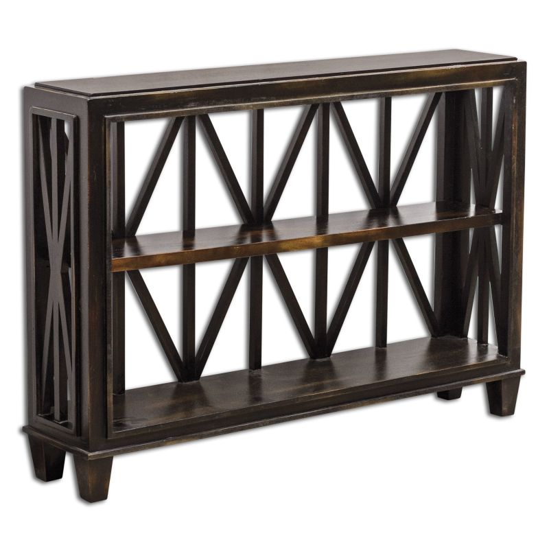Uttermost 25631 Asadel Deep Wood Console Table Worn Black Mango Wood