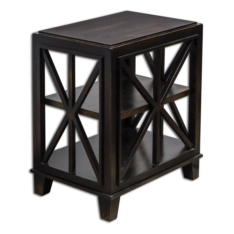 Uttermost 25633 Asadel Open Shelf End Table Worn Black Mango Wood