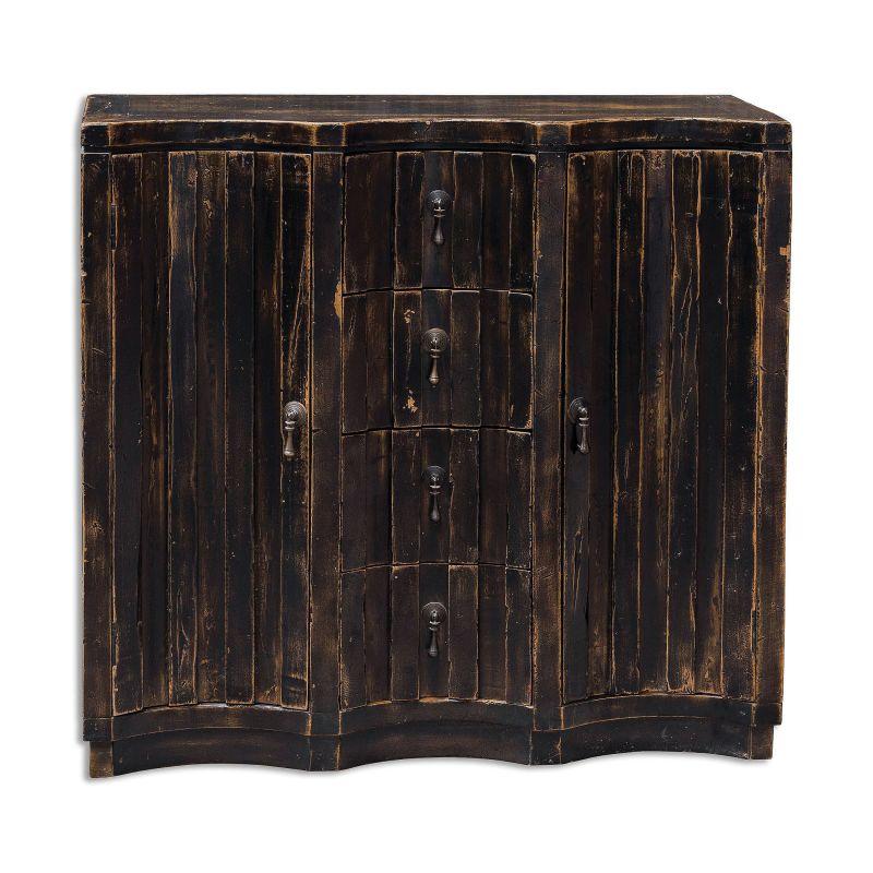 "Uttermost 25665 Edeline 30"" x 32"" Mahogany Wood Cabinet Worn Black"