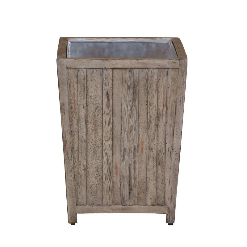 "Uttermost 25725 Jira 12"" Wide Wood Waste Basket Aged White Home Decor"