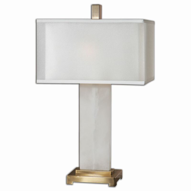 Uttermost 26136-1 Athanas 2 Light Table Lamp White Alabaster with
