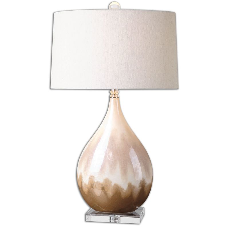 Uttermost 26171-1 Flavian 1 Light Table Lamp Rust Beige with Ivory
