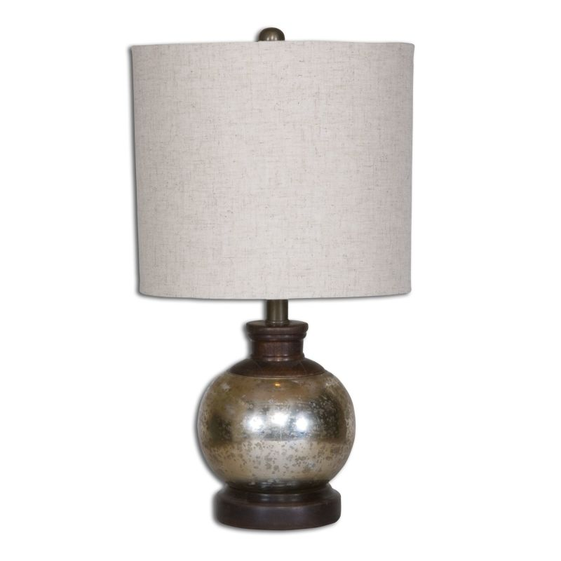 Uttermost 26208-1 Arago 1 Light Table Lamp Antiqued Mercury Glass with