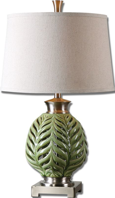 Uttermost 26285 Flowing Fern Green Table Lamp Crackled Lime Green