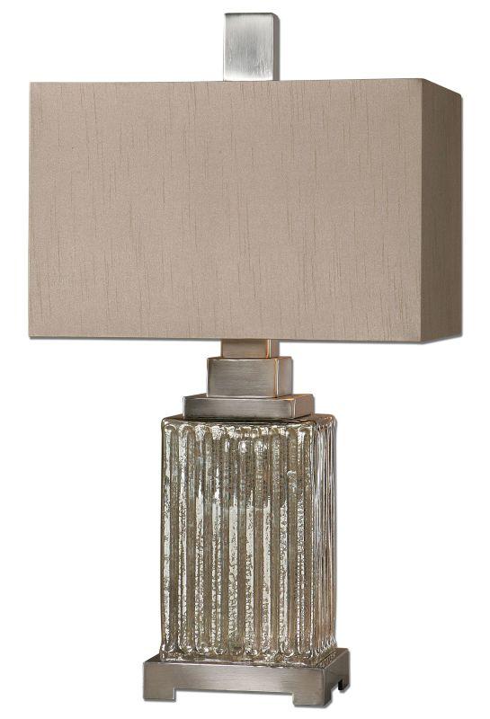 Uttermost 26289-1 Canino Mercury Glass Table Lamp Ribbed Mercury Glass