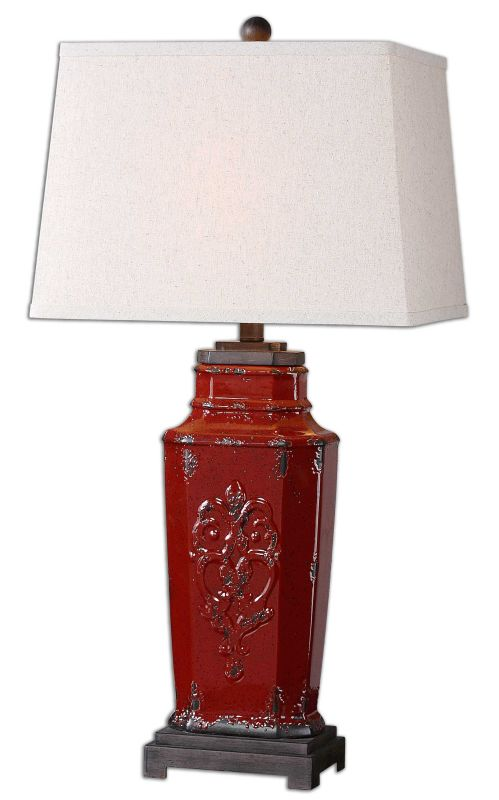 Uttermost 26345 Centralia 1 Light Table Lamp Deep Red with Rust Brown