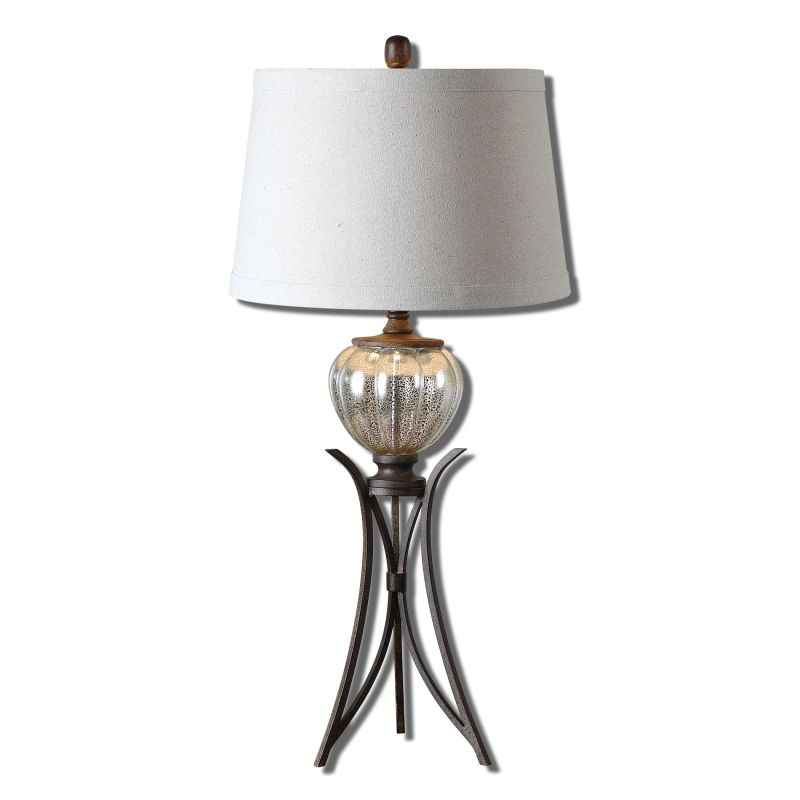 Uttermost 26598 Cebrario Table Lamp with Round Shade Glass and Bronze