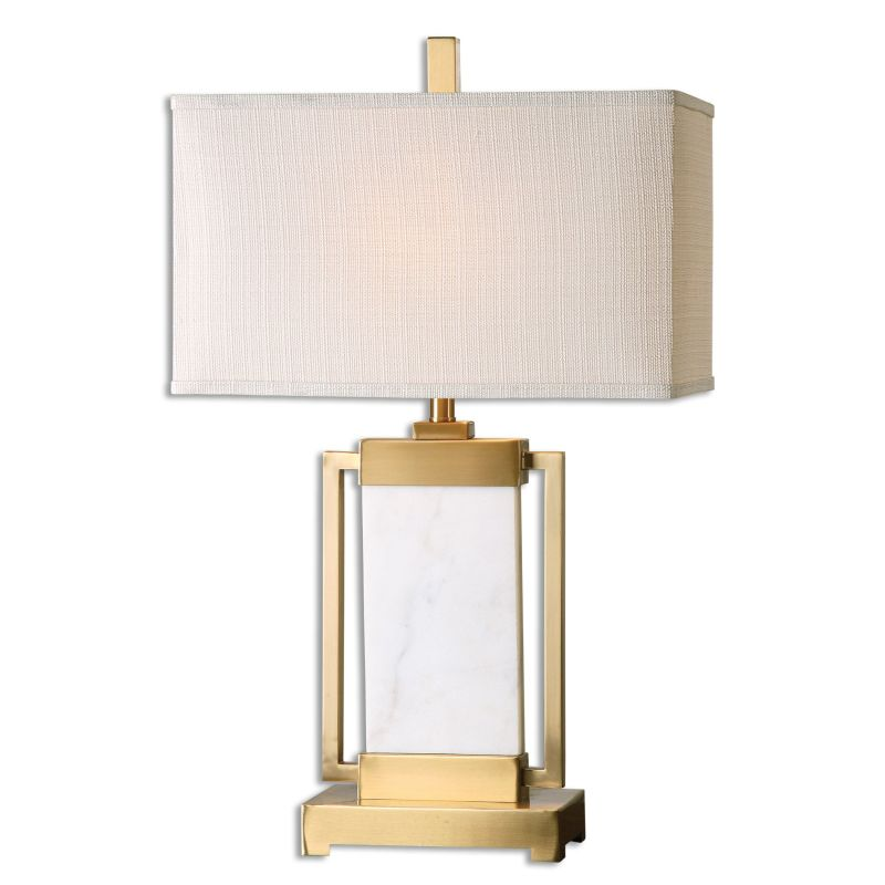 Uttermost 26940-1 Marnett 1 Light Table Lamp Brushed Brass with White Sale $283.80 ITEM: bci2612249 ID#:26940-1 UPC: 792977269404 :