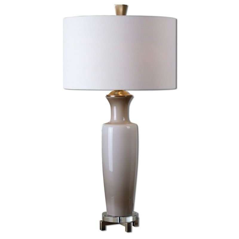 Uttermost 27468-1 Consuela Table Lamp with Cylinder Shade Gray Glass