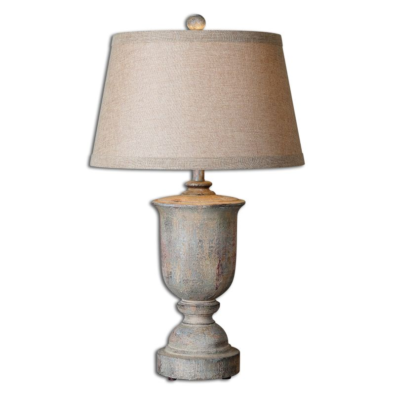 Uttermost 27699 Aurelius 1 Light Table Lamp Pale Silver Blue with Aged