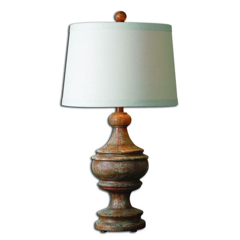 Uttermost 27742 Via Lata 1 Light Table Lamp Distressed Hand Painted