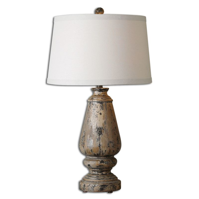 Uttermost 27743 Doria 1 Light Table Lamp Distressed Hand Painted Black