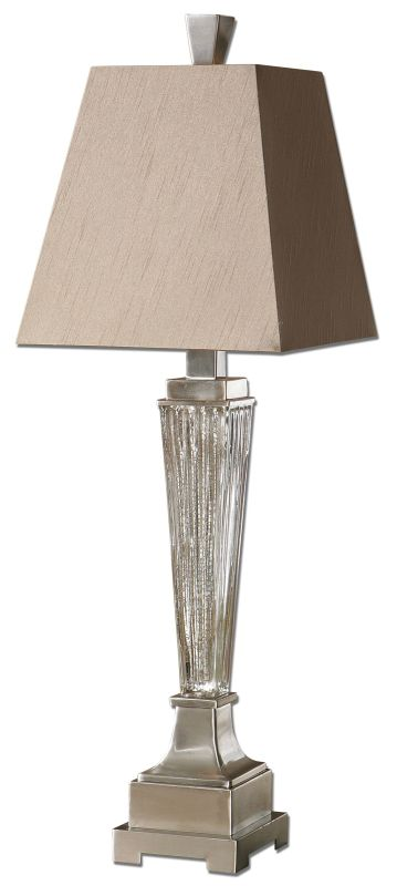 Uttermost 29325 Canino Mercury Glass Pillar Table Lamp Ribbed Mercury