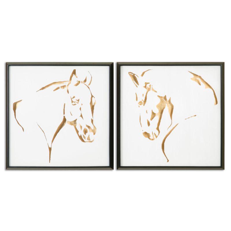 "Uttermost 34302 Golden Horses 26"" Canvas Wall Art Canvas Home Decor"