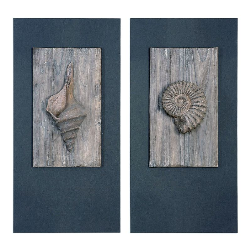 "Uttermost 41549 Shells 36"" x 18"" Wall Decor - Set of 2 Blue / Grey"