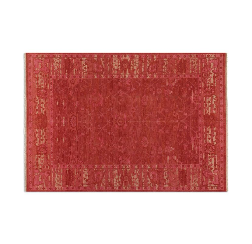 Uttermost 70012 Antalya Hand Knotted Wool Rug Red / Beige 6 x 9 Home
