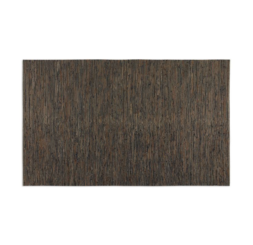 Uttermost 71043 Culver Woven Leather Rug Brown Leather / Jute 5 x 8