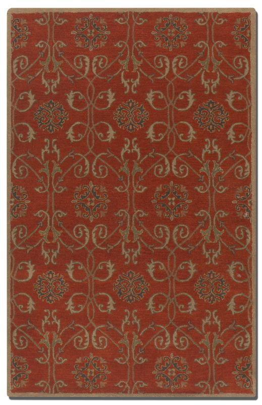 Uttermost 73040 Favara Hand Tufted Wool Rug Red 5 x 8 Home Decor Rugs