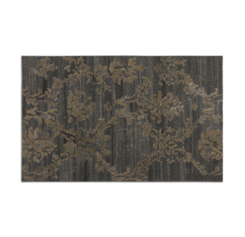 Uttermost 73046 Tavenna Low Cut Wool Rug Dark Gray / Rust Beige 5 x 8