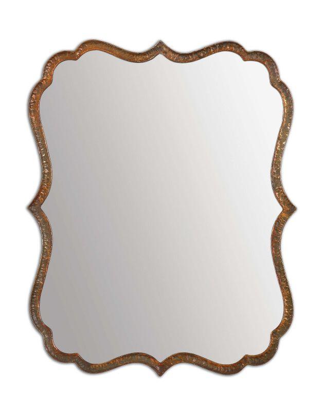 "Uttermost 12848 Spadola Hammered Metal Frame 30"" Mirror Oxidized"
