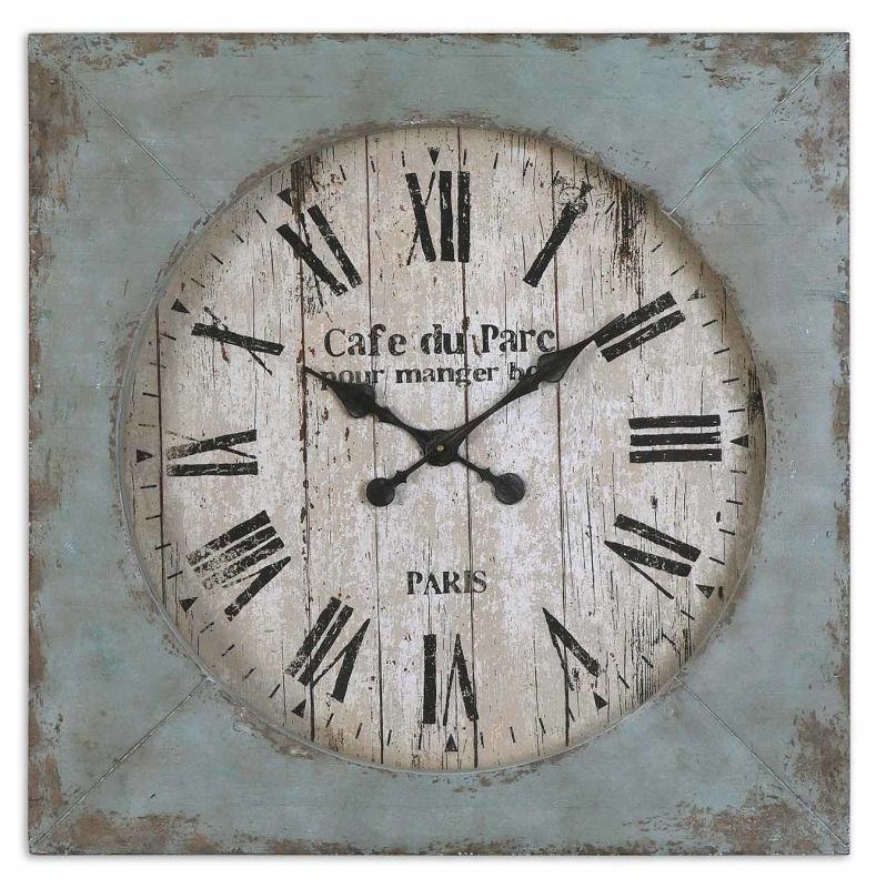 Uttermost 06079 Paron Clock Distressed Aged Blue Home Decor Wall