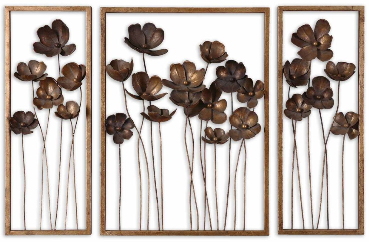 Uttermost 12785 Metal Tulips Set of 3 Wall Art Antique Gold Leaf Home