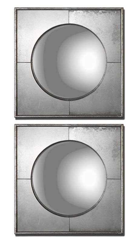 Uttermost 12829 Savio Squares Set of 2 Mirrors Antique Silver Leaf