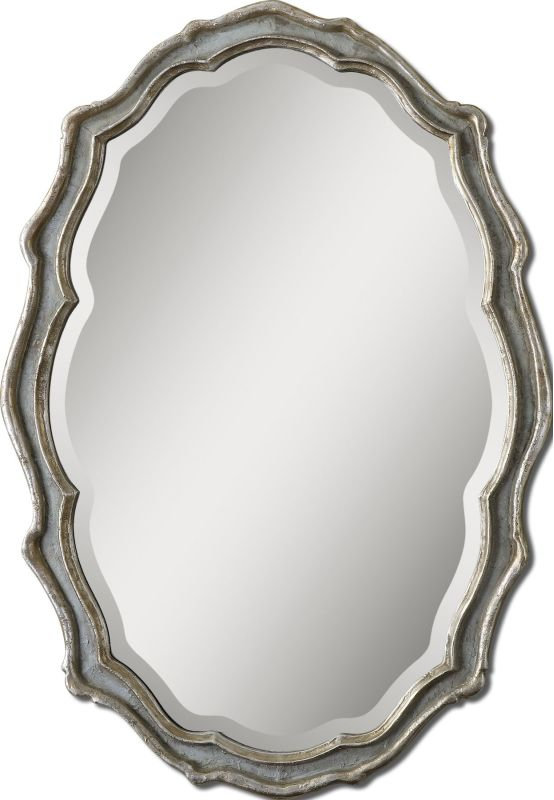 Uttermost 12832 Dorgali Oval Mirror Aged Slate Blue Home Decor