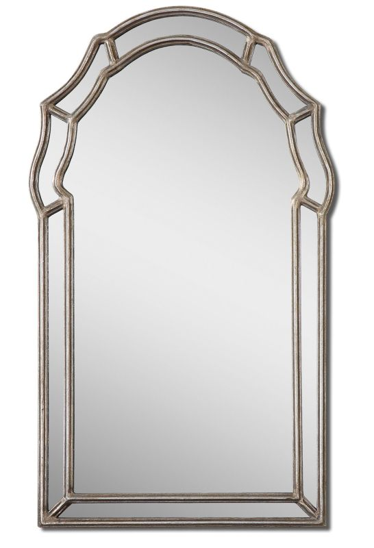Uttermost 12837 Petrizzi Arched Mirror Antiqued Silver Leaf Home Decor