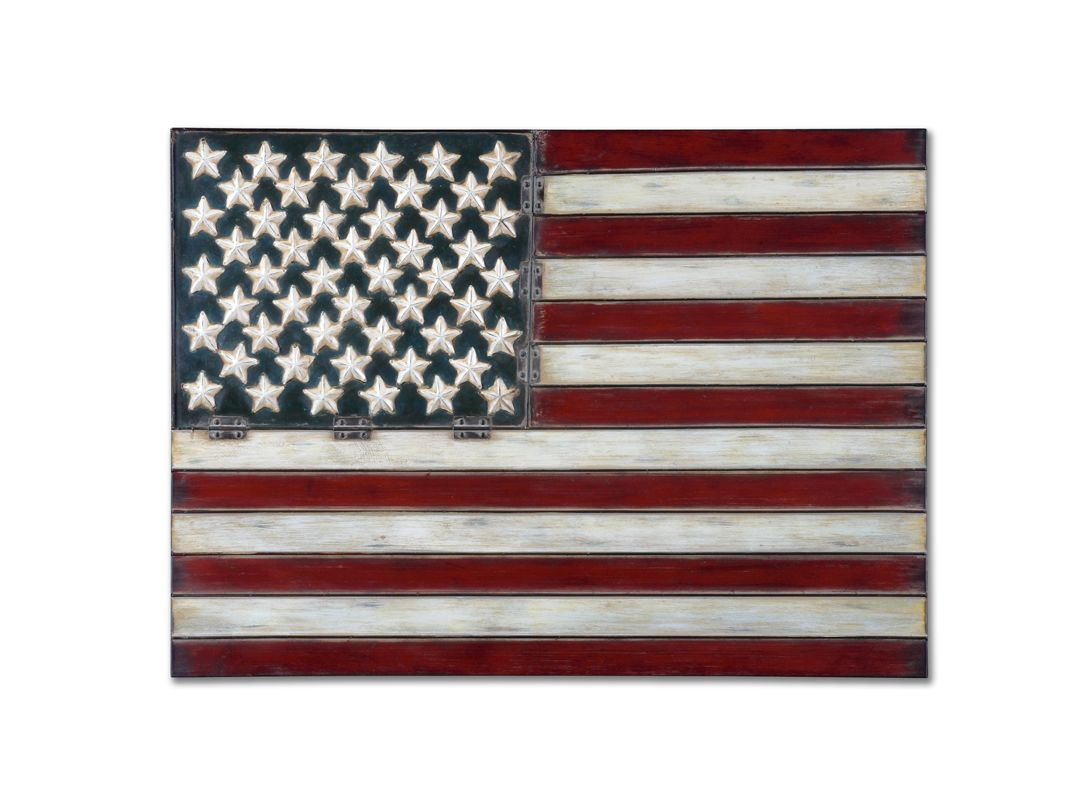 Uttermost 13480 American Flag Wall Art Red White and Blue Home Decor