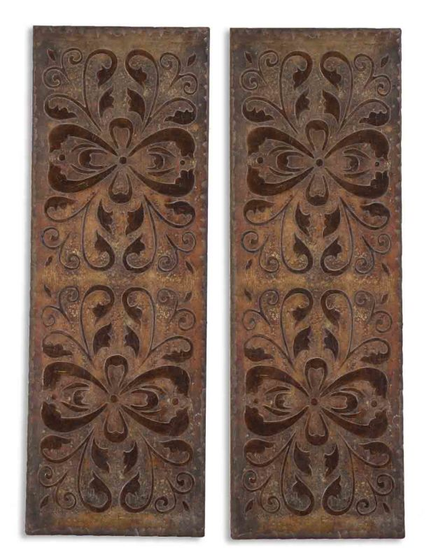 Uttermost 13643 Alexia Panels Set of 2 Wall Art Rust Brown Home Decor