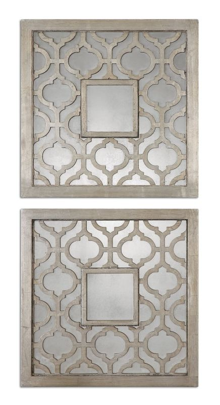 Uttermost 13808 Sorbolo Squares Set of 2 Mirrors Antique Silver Leaf