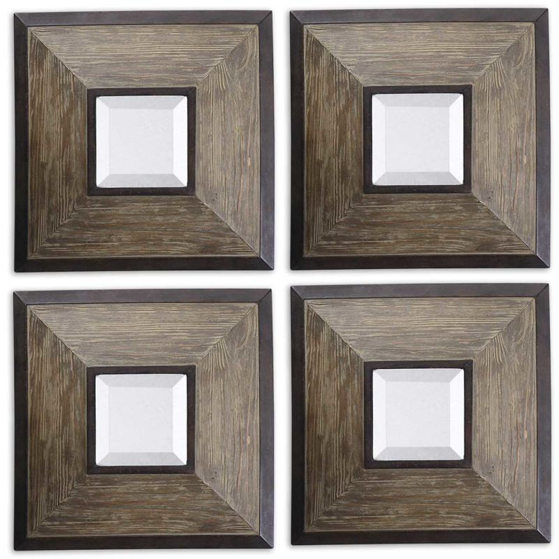 Uttermost 13817 Fendrel Squares Set of 4 Mirrors Natural Wood Home