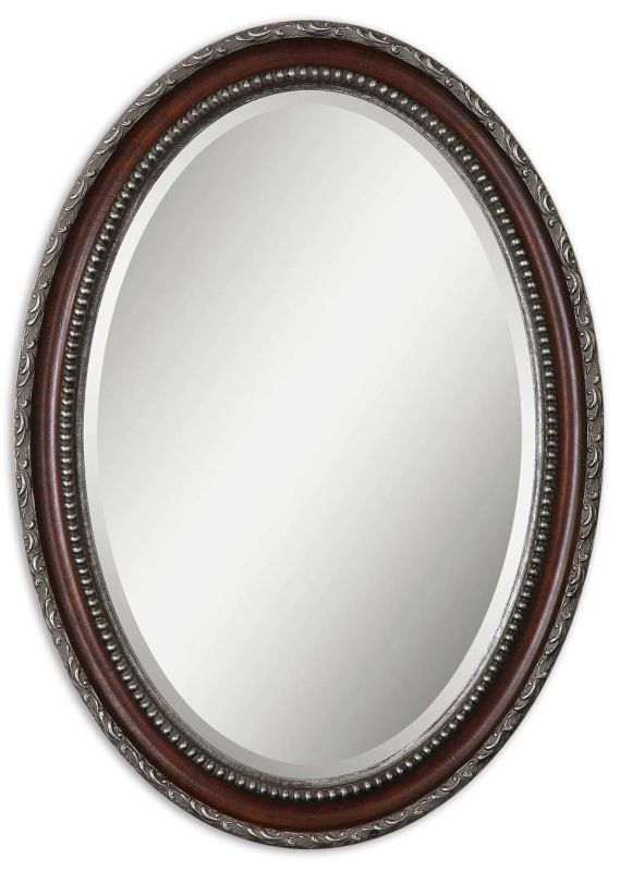 Uttermost 14196 Montrose Oval Mirror Dark Mahogany Home Decor Lighting