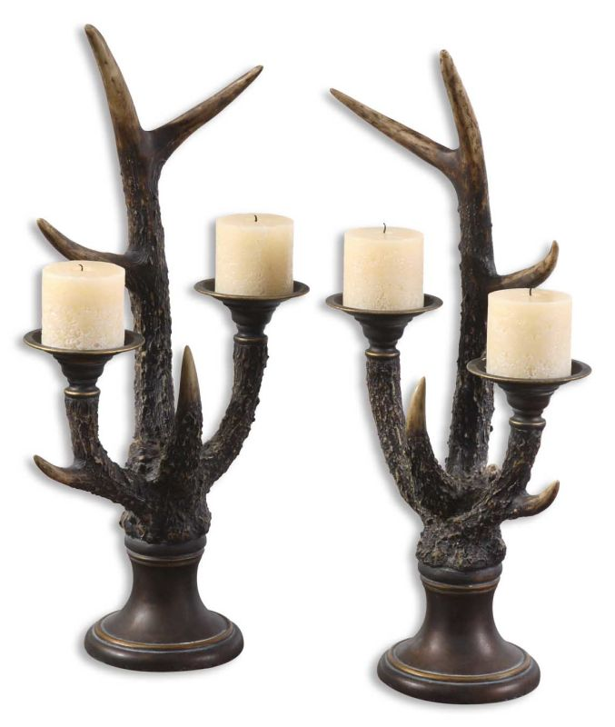 Uttermost 19204 Stag Horn Candleholder Set of 2 Burnished Ivory Home