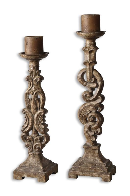 Uttermost 19218 Gia Candleholders Set of 2 Mocha Brown Home Decor