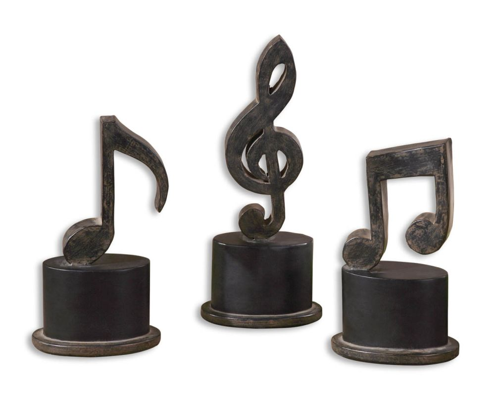 Uttermost 19280 Music Notes Set of 3 Aged Black Home Decor Statues &