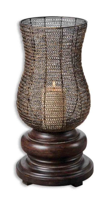 Uttermost 19290 Rickma Candleholder Distressed Chestnut Brown Home