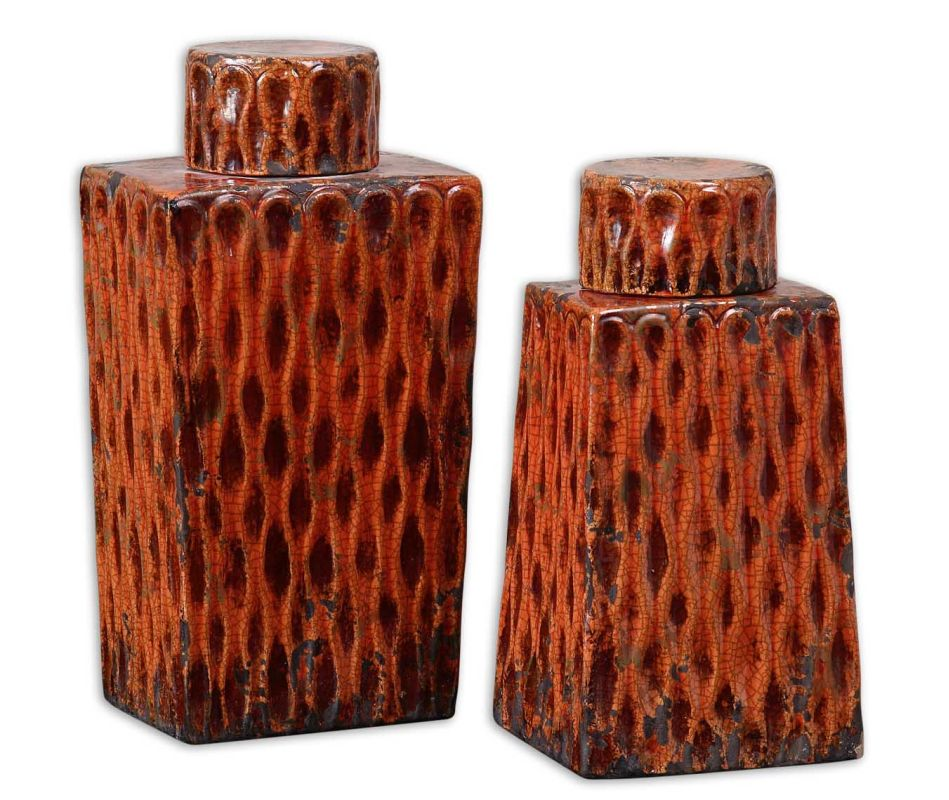 Uttermost 19504 Raisa Containers Set of 2 Crackled Burnt Orange Home
