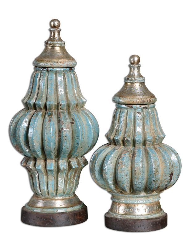 Uttermost 19546 Fatima Urns Set of 2 Crackled Blue Home Decor Vases