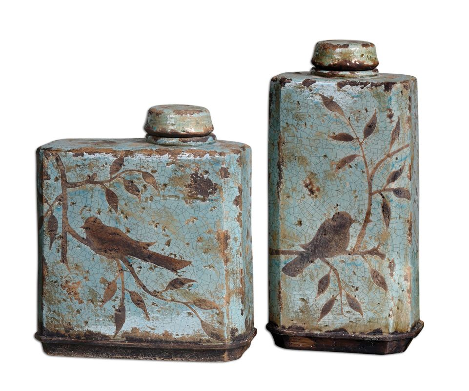 Uttermost 19547 Freya Containers Set of 2 Crackled Blue Home Decor
